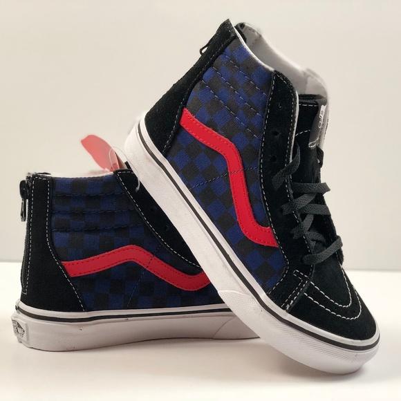41c058bde99 Vans Toddlers Sk8-Hi Zip (Checkerboard) Skate Shoe